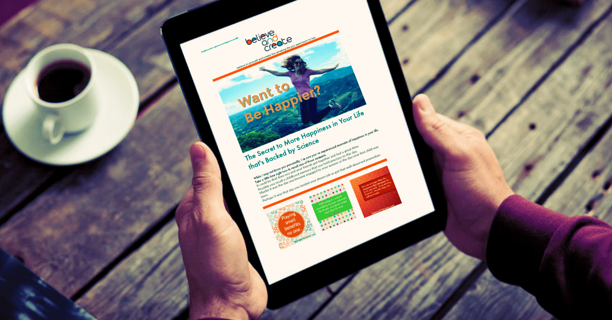 Believe and Create newsletter example