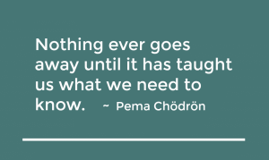 nothing ever goes away until it has taught us what we need to know pema chodron