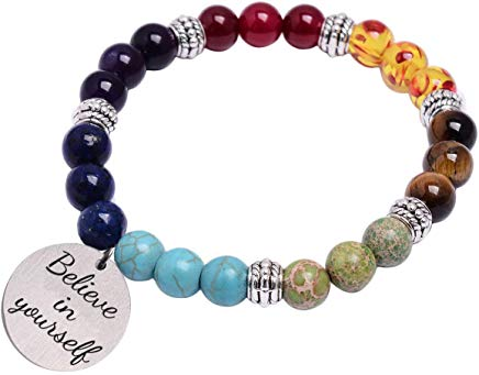 7 chakra natural stone bracelet believe in yourself