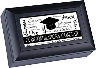 musical graduation box with inspirational messages dream, live, create, discover