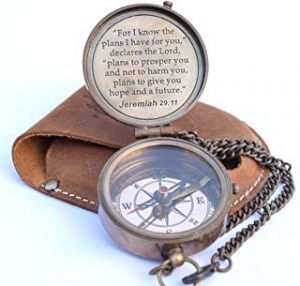 compass gift engraved with Jeremiah 29 11