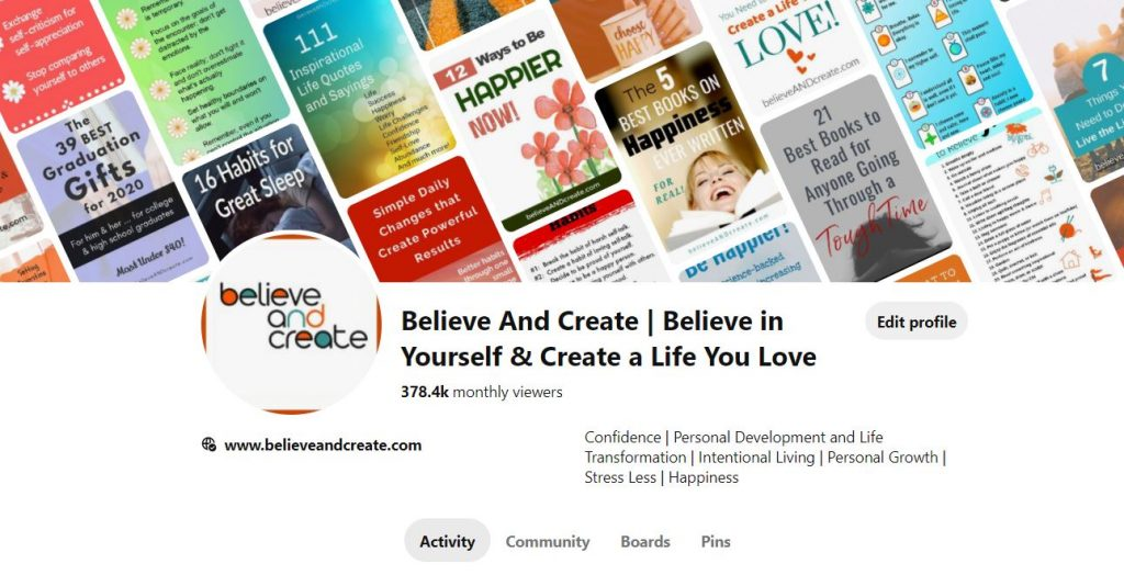 join believe and create on pinterest